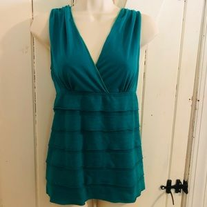 STUDIO M sleeveless top size XL green-blue